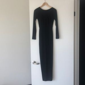 NWOT Black Deep V Back Maxi Dress with Back Slit,4